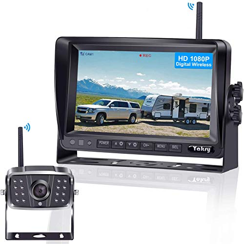 FHD 1080P Digital Wireless Backup Camera for RVs,Trailers,Trucks,Fifth Wheels,Boats Rear,Front View Camera 7''Monitor with DVR System Highway Monitoring System Guide Lines ON/OFF