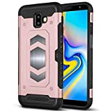 Galaxy J6 Plus Case, Galaxy J6 Prime Case, Ranyi Magnetic Iron Wallet Cover [Card Slot] Shock Absorbing Dual Layer Rugged Protective Rubber Case for Samsung Galaxy J6 Plus / J6 Prime (Rose Gold)