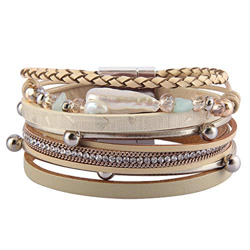 GelConnie Baroque Pearl Leather Cuff Bracelet Multi Strand Boho Bracelets Trendy Wrap Around Bracelet Bohemian Jewelry for Women, Daughter, Sister LPB300-Beige