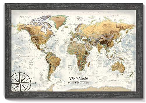 Amazon Com Executive World Push Pin Map The Magellan World Map Large Framed Map Professional Cartography Handmade