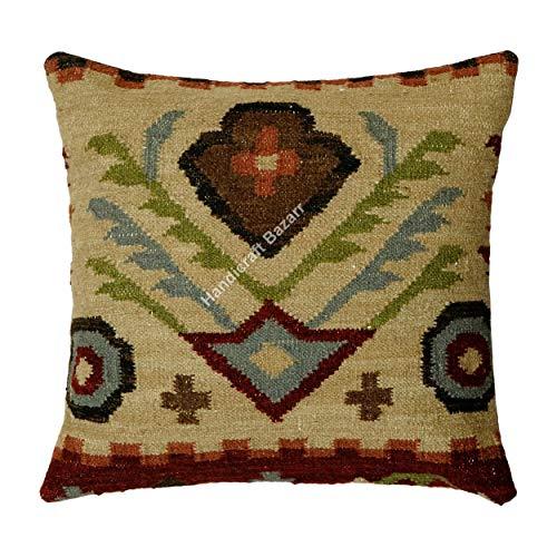 Handicraft Bazarr Funda de cojín de lana y yute tejida a mano con diseño de cuñas y pasioneros de cuerpo; funda de almohada étnica vintage Kilim yute, funda de cojín de lana multicolor
