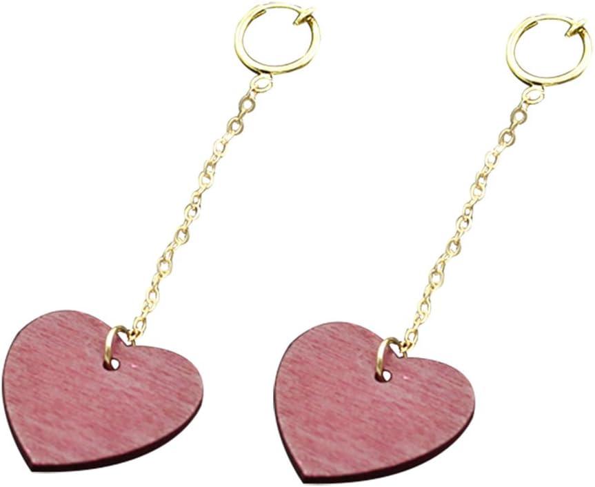 Freedi Women Ear Cuffs Wood Hesrt Dangle Clip On Earrings Non Pierced Ears Fashion Birthday Jewelry Gift for Girls