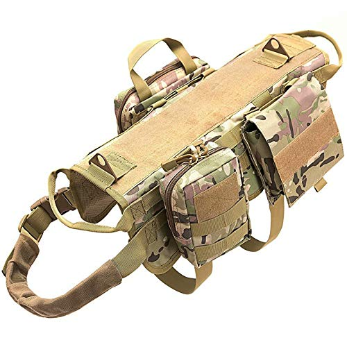 Tactical Dog Harness with Pouches Molle Vest K9 No-Pull Handle Comfortable Adjustable Outdoor Training Service Camouflage Harness with 3 Detachable Pouches (L,Camouflage)