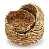Hipiwe Set of 3 Wicker Fruit Baskets Bowl for Bread Vegetable - Natural Rattan Round Basket...