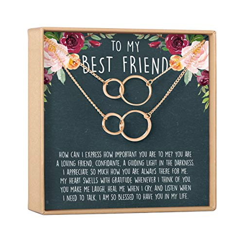 Best Friend Necklace - Heartfelt Card & Jewelry Gift for Birthday, Holiday, More (2 Asymmetrical Circles Rose Gold Set of 2)