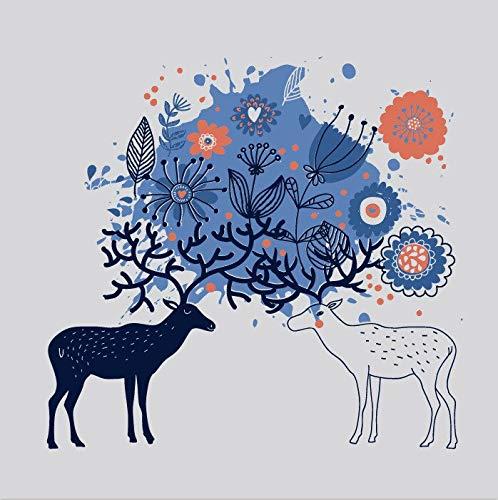 Estratto di Cervo Alce Buck Fiore Modello Farfalla Animale Cartoon Scuola Materna Camera dei Bambini Decorazioni per la casa Wall Art Poster Tela Pittura 90 * 120cm