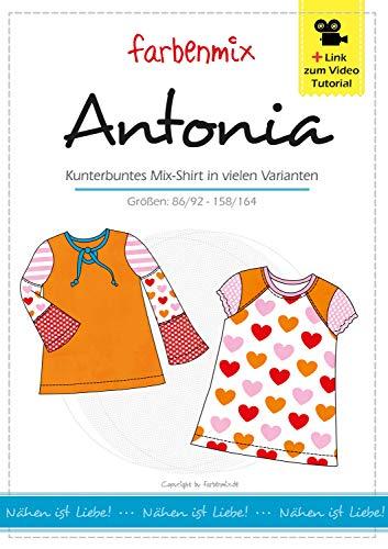 Farbenmix Antonia Schnittmuster (Papierschnittmuster für die Größen 86/92-158/164), Mix-Shirt für Mädchen