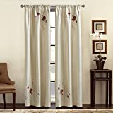 Alesandra Floral Embroidered Faux Silk Curtain Panel