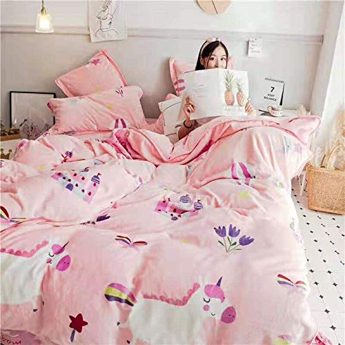 geek cook Winter Warm Flannel,Autumn and winter milk velvet four-piece set, double-sided thick flannel sheet duvet cover to keep warm-Dream castle jade_1.5m/1.8m bed