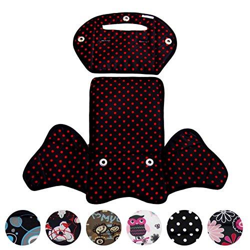 BambiniWelt24 BAMBINIWELT Ersatzbezug, Sitzkissen, Bezug für Fahrradsitz, Modell RÖMER Jockey (Modell 4, Design) (schwarz rote Punkte) XX