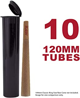120MM Black Doob Tubes | 10 Pack | Waterproof Airtight and Smell Proof Blunt Vial Container | Child Resistant with Squeeze Pop Tops | BPA Free | Ideal for Storing King Size Pre Rolled RAW Cones