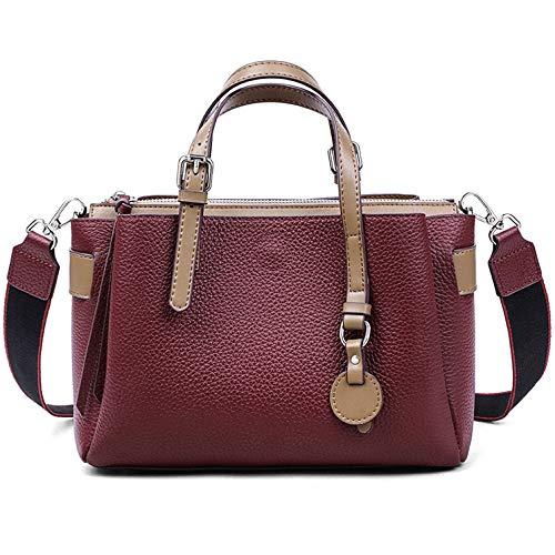 Iswee Women Leather Satchel Tote Handbags Medium Work Purse Shoulder Bag Vintage Office Cross Body Bags (Wine)