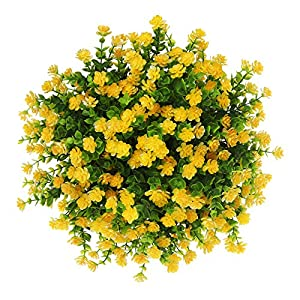 Momkids 6 Pcs Artificial Flowers Outdoor UV Resistant Fake Plants Faux Plastic Greenery Shrubs Hanging Flower Trough for Home Office Outside Balcony Patio Garden Decoration(Yellow)
