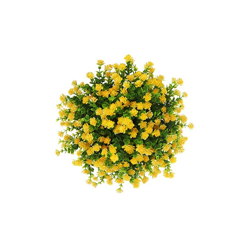 silk flower arrangements momkids 6 pcs artificial flowers outdoor uv resistant fake plants faux plastic greenery shrubs hanging flower trough for home office outside balcony patio garden decoration(yellow)