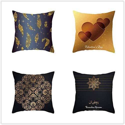 LOYYE Pack de 4 Fundas de Cojines Flor de Pluma Funda de Almohada Cuadrado Terciopelo Suave con Cremallera Invisible para Sofá Cama Coche Decor para Hogar Throw Pillow Case T4106 45x45cm/17.6x17.6in