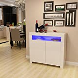 Panana High Gloss 2 Door Sideboard Cupboard with LED Lights Display Cabinet Storage for Living Dining Room Bedroom Furniture (White)