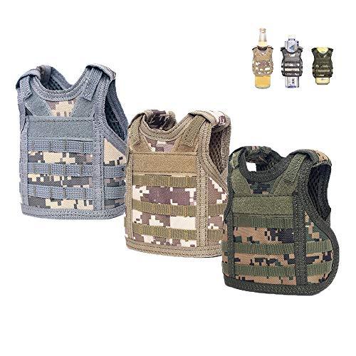 3 Mini-Bierweste, Camouflage Bierdosen Abdeckung Kühler-Halterung, verstellbarer Molle Getränkehalter geeignet für 12 Unzen oder 16 Unzen Dosen oder Flaschen Militär grün, Khaki, grau