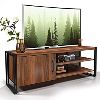 amzdeal TV Stand for TV up to 48 inches TV Cabinet with Door and Shelves Living Room Storage Entertainment Center with Sturdy Metal Frame Media Console Table for TV/Walnut Brown  44x15.7x11.8