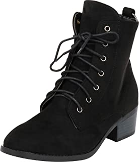 Cambridge Select Women's Round Toe Lace-Up O-Ring Chunky Heel Ankle Combat Boot