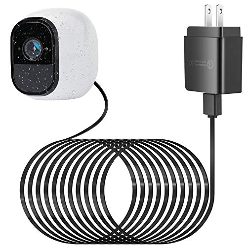 ALERTCAM Weatherproof Outdoor Quick Charge 3.0 Power Adapter for Arlo Pro and Arlo Pro 2, with 25Ft/7.5m Long and Flat Cable to Continuously Charging Your Arlo Camera (Black)