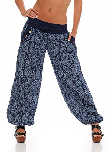 Malito Damen Pumphose mit Orient Print | leichte Stoffhose | Freizeithose für den Strand | Haremshose - luftig 3488 (dunkelblau)