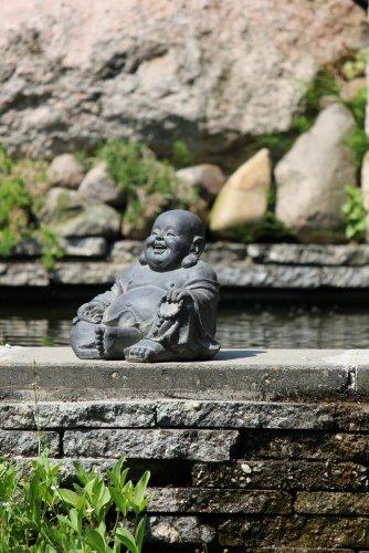 Figur Lachender Buddha sitzend – für Haus und Garten – Höhe 24 cm – schwarz - 3