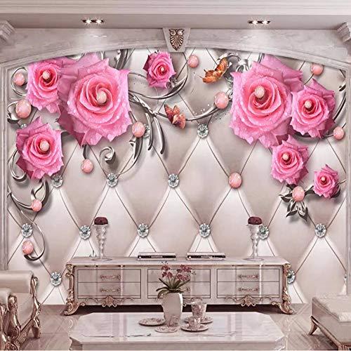 Xzfddn Fototapete 3D Stereo Schmuck Blumen Soft Roll Murals Wohnzimmer TV Sofa Home Decor Luxus Hintergrund Wandgemälde Fresco