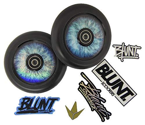 Blazer Pro 2 ruedas para patinete de acrobacias Hollow Core de 120 mm de poliuretano negro + 1 paquete de pegatinas para 2 rollos (azul Sky)