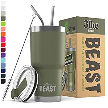 BEAST 30oz Army Green Tumbler - Stainless Steel Insulated Coffee Cup with Lid 2 Straws Brush & Gift Box