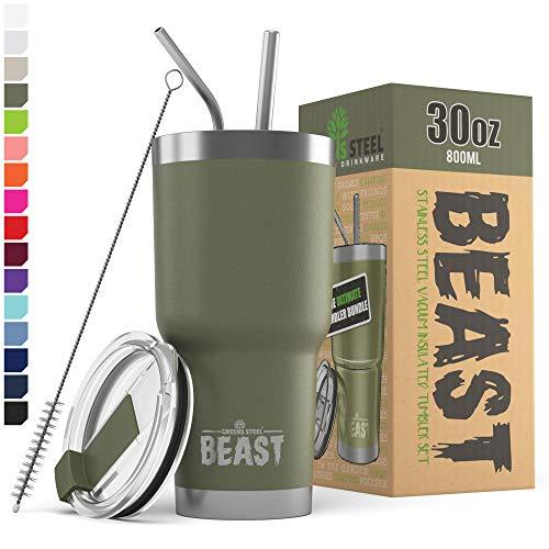 BEAST Edelstahl Becher Vakuumisolierte Tasse Kaffeebecher Doppelwandige Reiseflasche Thermobecher mit Spritzfestem Deckel, Paket mit 2 Strohhalmen, Rohrbürste & Geschenkbox (30oz, Militärgrün)
