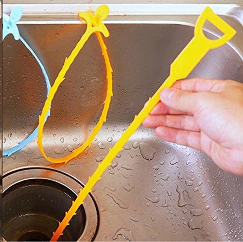 WYFC Cuisine évier vidange Tuyau dragage outils toilette petit bloc outil drain cheveux nettoyant 2 Pack (couleurs aléatoires)