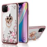 iPhone 11 Pro Max Case 6.5 inch 2019, Clear Body Rose Golden Edge Flower Print Soft TPU Cover with Rotatable Heart-Shaped Ring Kickstand Fit Magnetic Car Mount for iPhone 11 Pro Max