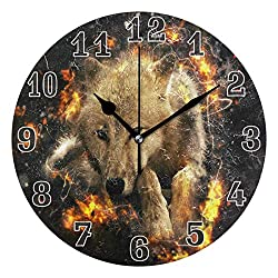 luckY—zm Large Arabic Digital Quartz Movement Clock-Fantasy Animal Wolf Round Wall Clock, Silent Non Ticking Painting for Kids Bedroom Living Room Office School Home Decor-size10in