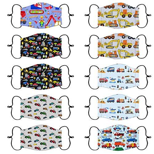 FeelFree+ 10 Stück Kinder Mundschutz Multifunktionstuch 3D Cartoon Druck Mund und Nasenschutz Atmungsaktive Staubdicht Waschbar Mund-Nasenschutz Halstuch für Jungen Mädchen