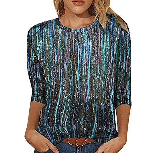 Camiseta de mujer vintage Clothes para verano, informal, cuello redondo, camiseta para mujer, sexy, primavera, estampada, manga 3/4, cuello redondo, informal, camiseta