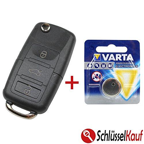 KONIKON Schlüsselgehäuse Funk Fernbedienung Gehäuse Klappschlüssel 3 Tasten Gehäuse Autoschlüssel +Batterie Ersatz Batterie Auto Schlüssel Neu passend für Volkswagen VW Skoda Seat