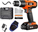 Cordless Drill - 20V Power Drill Set with 2.0Ah Lithium-Ion Battery, 1 Hr