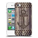 Head Case Designs Ancla Mezcla de Estampados de Madera Carcasa rígida Compatible con Apple iPhone 4 / iPhone 4S