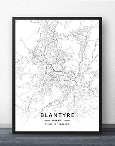 ZWXDMY Leinwand Bild,Malawi Blantyre Stadtplan Schwarz Weiß Einfache Abstrakte Buchstaben Line Print Leinwand Gemalt Poster Rahmenlose Wandbild Kaffee Haus Dekoration Gym, 50 × 70 cm