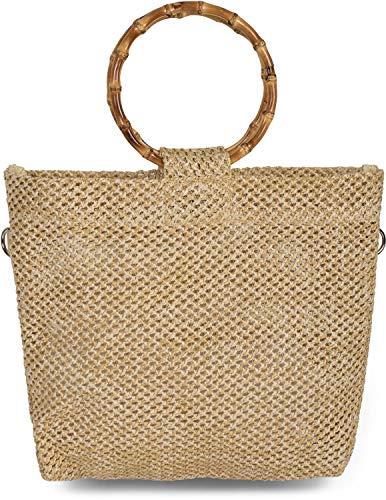 styleBREAKER Damen Henkeltasche mit Bambus Henkel in halb transparenter Häkel Optik, Handtasche, Tasche 02012286, Farbe:Hellbraun
