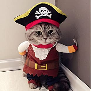 Idepet Caribbean Pirate Cat Costume Funny Dog Pet Clothes Suit Corsair Dressing up Party Apparel Clothing for Dogs Cat Plus Hat (M):Dailyvideo