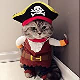 Idepet Caribbean Pirate Cat Costume Funny Dog Pet Clothes Suit Corsair Dressing up Party Apparel Clothing for Dogs Cat Plus Hat (S)