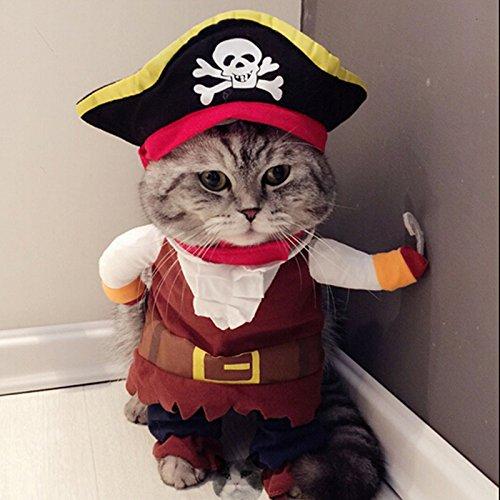 Idepet Costume de Chat Pirate des Caraïbes drôle Chien vêtements pour animaux de compagnie Costume Corsair habillage vêtements de fête vêtements pour chiens Chat Plus Chapeau
