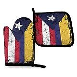 N\A Banderas de Colombia Puerto Rico Guantes de Horno y Soportes para ollas Juegos Guantes de Cocina Guantes para Hornear para Barbacoa Cocinar Hornear Asar a la Parrilla