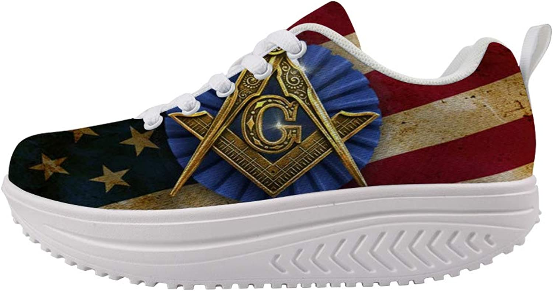 Owaheson Swing Platform Toning Fitness Casual Walking shoes Wedge Sneaker Women Freemason American Flag