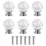 TONGXU 6Pcs Pomos de Cristal Bola Manijas de Vidrio Tiradores para Muebles Gabinetes Cajones Armarios Puertas Cómodas Casa Oficina
