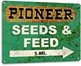 Pioneer Seed and Feed Vintage Farm Rustic Metal Tin Sign Aluminum Metal Signs Tin Plaques Wall Poster for Garage Man Cave Beer Cafee Bar Pub Club Shop Outdoor Home Decor 8' x 12'
