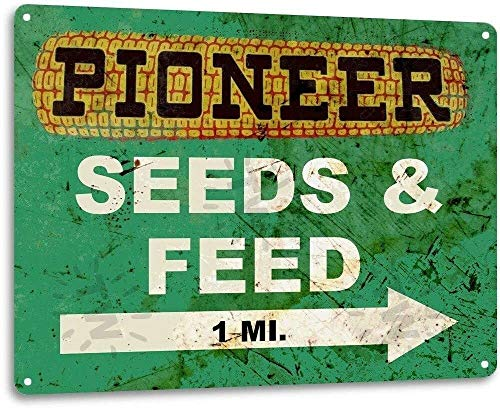 """Pioneer Seed and Feed Vintage Farm Rustic Metal Tin Sign Aluminum Metal Signs Tin Plaques Wall Poster for Garage Man Cave Beer Cafee Bar Pub Club Shop Outdoor Home Decor 8"""" x 12"""""""