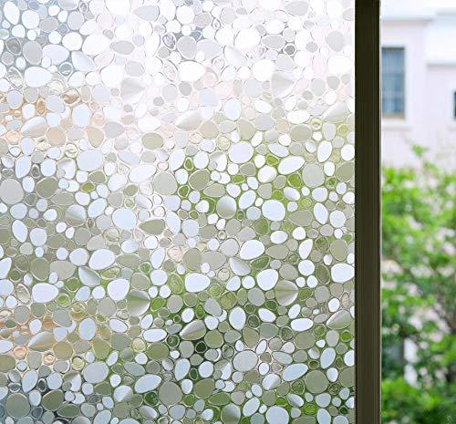 Bloss 3D-Fensterfolie, dekorative Fensterfolie, Fensterfolie, statische , Sichtschutz, Kieselstein-Stil, Anti-UV-Hitzeregulierung, Heimdekoration, 45 x 200 cm