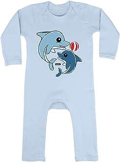 HARIZ HARIZ Baby Strampler Delfine Spielend Mit Wasserball Süß Tiere Dschungel Plus Geschenkkarten Himmel Hell Blau 3-6 Monate